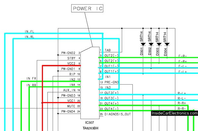 Схема автомагнитолы Alpine CDE-9841 - контакты усилителя звука