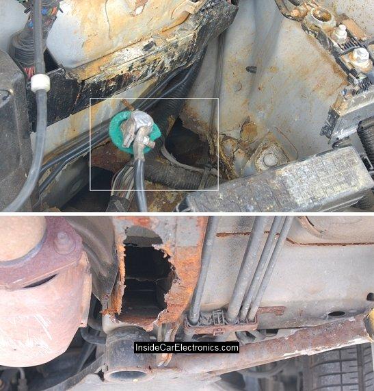 Разъедание металлических элементов кузова кислотой аккумулятора