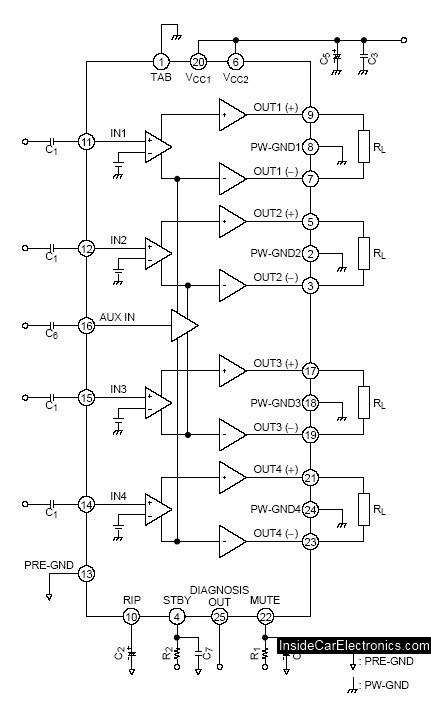 Стандартная схема усилителя на микросхеме TA8263BH из документации