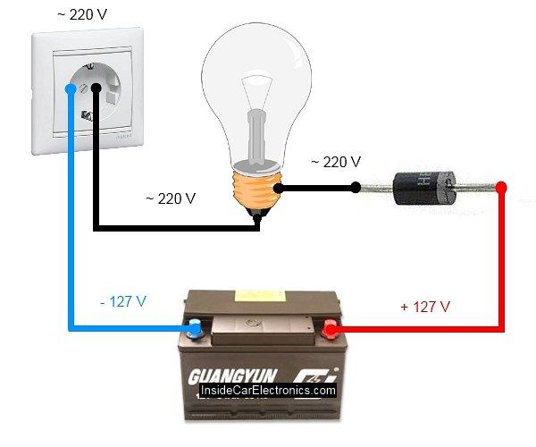 Принципиальная электрическая схема простого зарядного устройства для...